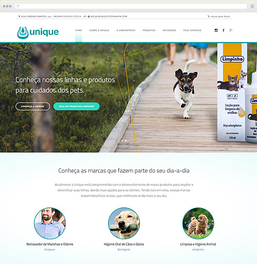 Criação de sites para Pet Shop - Unique Veterinária