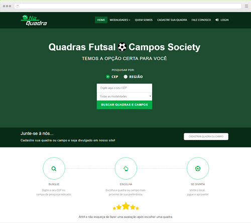 Criação de sites com Newsletter - Na Quadra